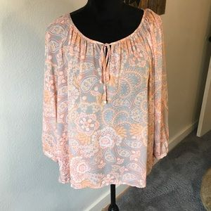 a.n.a light weight peach print blouse